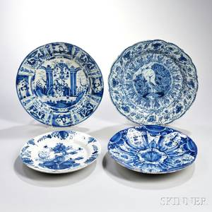 Four Dutch Delftware Blue and White Chargers