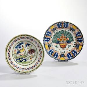 Two Delftware Polychrome Decorated Dishes
