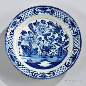 Dutch Delftware Blue and White Chinoiserie Decorated Charger