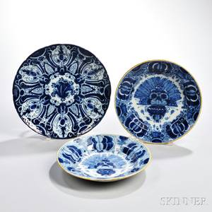Three Dutch Delftware Blue and White Dishes