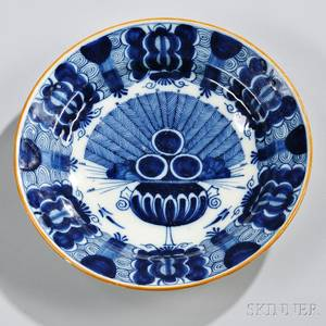 Dutch Delftware Blue and White Decorated Peacock Charger