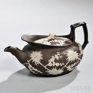 Wedgwood Prunus Decorated Redware Teapot and Cover