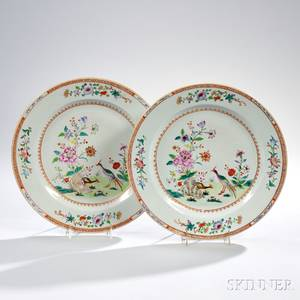 Pair of Chinese Export Porcelain Famille Rosedecorated Chargers