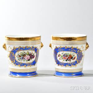Two Sevresstyle Porcelain Cache Pot with Plates