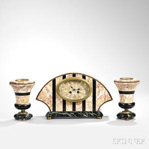 Threepiece Marble and Bronze Clock Garniture