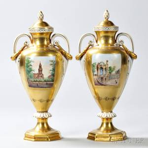 Pair of Dresden Porcelain Vases