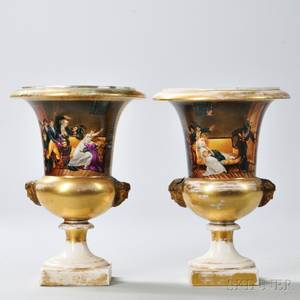 Pair of Limoges Porcelain Urns with Interior Scene