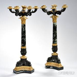 Pair of Empirestyle Marble and Bronze Candelabra