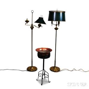 Two Brass Floor Lamps and a Copper Planter