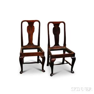 Pair of Queen Anne Oak Side Chairs
