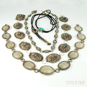 Group of Sterling Silver and Silverplated Native American Accessories