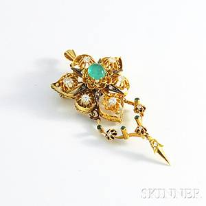 14kt Gold Emerald and Diamond PendantBrooch