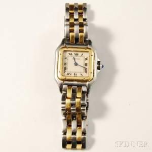 Stainless Steel and 18kt Gold Panthere Wristwatch Cartier