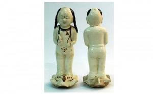 1258 Pair of Chinese Pottery Figures each standing on
