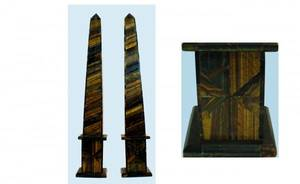 1255 Pair of TigerEye Obelisks handmade and measuri