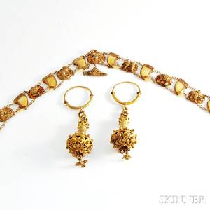 Tiger Claw Necklace and a Pair of Earrings