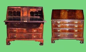 1234 English Walnut 19th Century Slant Front Desk with