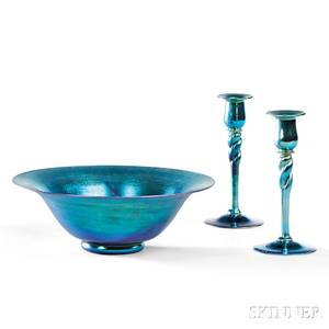 Steuben Blue Aurene Center Bowl and Pair of Candlesticks