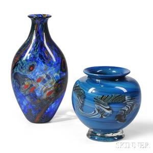 Two Contemporary Art Glass Vases