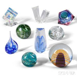 Nine Pieces of Contemporary Art Glass Sculpture