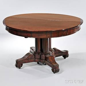 Gothic Revival Carved Mahogany and Mahogany Veneer Extension Dining Table
