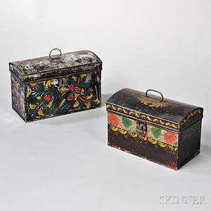 Two Painted Toleware Document Boxes