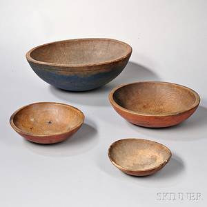 Four Paintdecorated Turned Wood Bowls