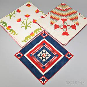 Two Pieced and Appliqued Quilts and a Pieced Crib Quilt