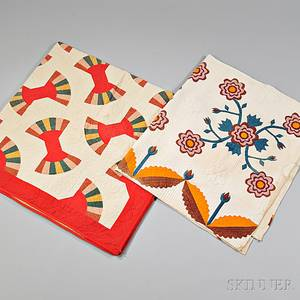 Two Handstitched Pieced and Appliqued Quilts