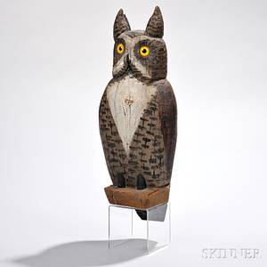 Folk Art Carved and Painted Owl