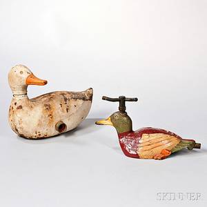 Two Cast Iron and Paintdecorated Duckform Sprinklers