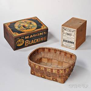Paintdecorated Woven Splint Basket and Two Lithographed Boxes