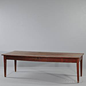 Large Painted Pine Table with Drawer