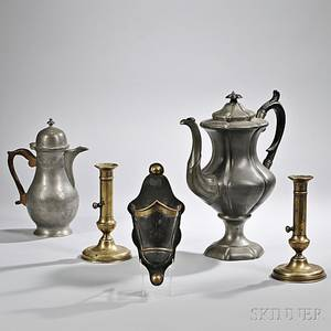 Pair of Brass Candlesticks Two Pewter Coffeepots and a Tin Spill Holder