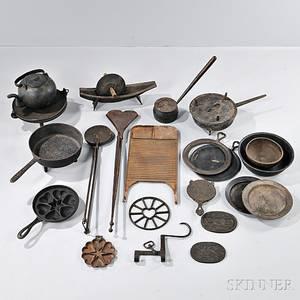 Twentyone Cast and Wrought Iron Kitchen Wares