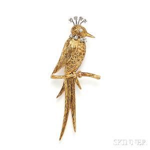 18kt Gold and Diamond Bird Brooch