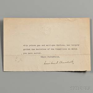 Churchill Winston 18741965 Fragmentary Typed Letter Signed 7 December 1918