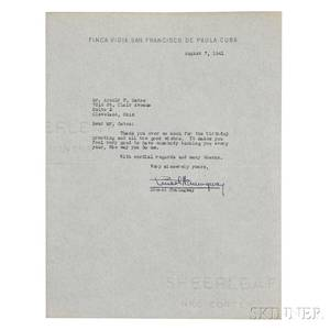Hemingway Ernest 18991961 Typed Letter Signed 7 August 1941