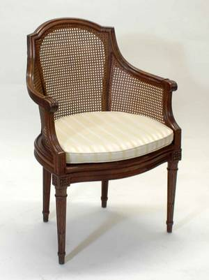 159 LOUIS XVI STYLE FRUITWOOD BERGEREThe arched cane