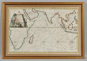 Indian Ocean Jacques Nicolas Bellin 17031772 Carte Reduite de LOcean Oriental ou Mer des Indes