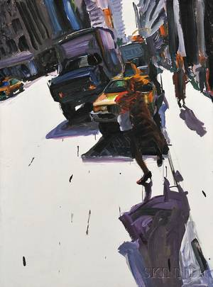 Tom Christopher American b 1952 Crossing the Avenue