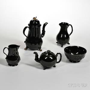 Five Staffordshire Jackfield Black Glazed Teaware Items
