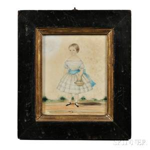 AngloAmerican School Early 19th Century Miniature Portrait of a Young Girl in a White Dress Holding a Basket of Flowers