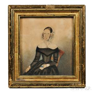 AngloAmerican School Early 19th Century Miniature Portrait of a Seated Woman in a Black Dress