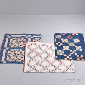Dutch Rose Pattern Quilt and Two Geometric Pattern Quilts