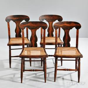 Set of Four Grainpainted Fiddleback Side Chairs