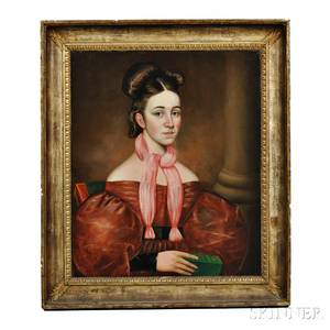 American School 19th Century Portrait of a Woman in a Dark Red Dress Holding a Bible