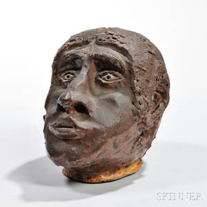 Sewer Tile Pottery Stoneware Head of a Black Man