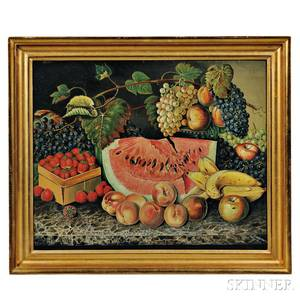 American School Early 20th Century Large Still Life with Fruit on a Black Marbletop Table