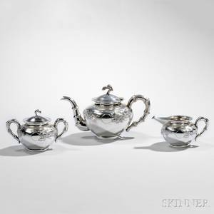 Threepiece Chinese Export Silver Tea Service
